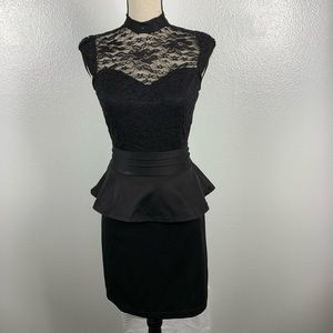 Venus Black Peplum Lace Open Back Evening Dress